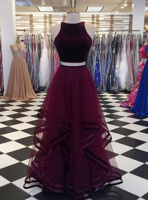 Burgundy velvet top long two pieces tulle party dress, long ruffles homecoming dress from Sweetheart Dress