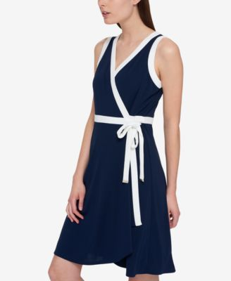 Tommy Hilfiger Sleeveless Wrap Dress, Only at Macy's - Blue 12