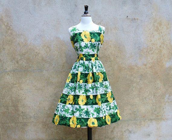 1950s green floral day dress- 50s Hawaiian print summer full skirt dress- Large. $125.00, via Etsy.