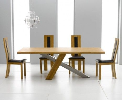 Stunning Moreno Oak And Brushed Steel Dining Table With 6