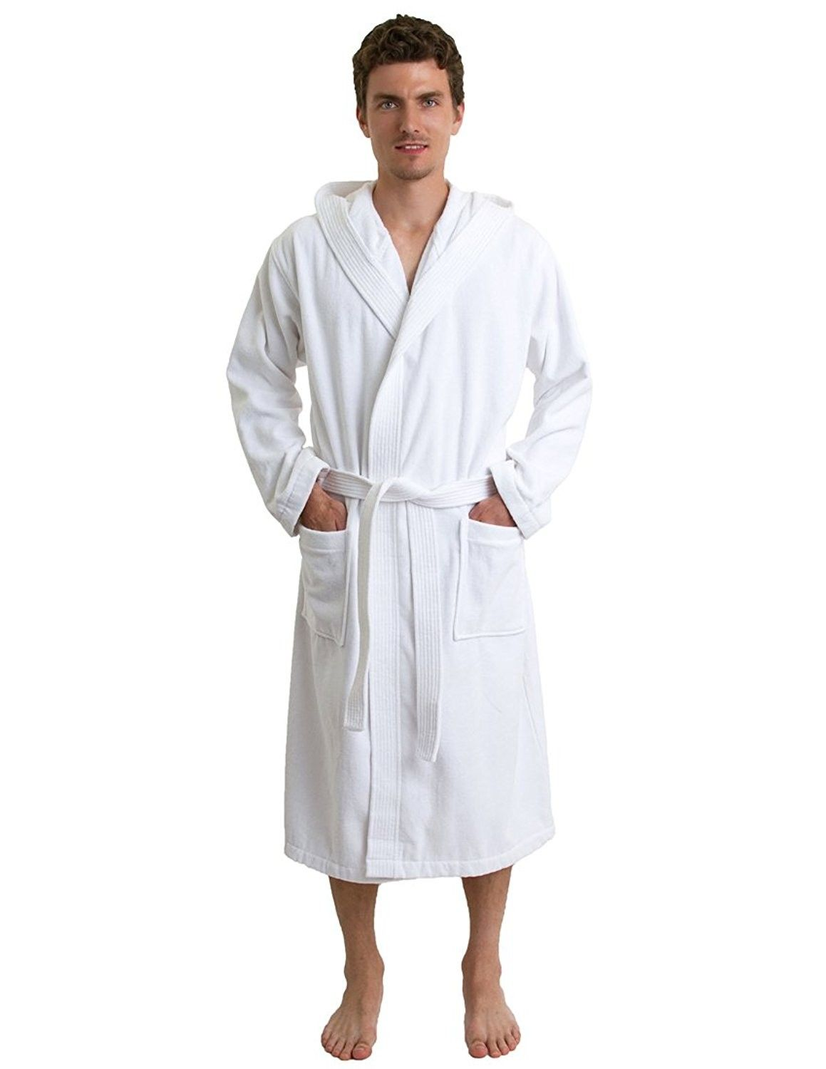 Men s Robe- Hooded Terry Velour Cotton Bathrobe Made in Turkey - White -  CT11KJIDP6B 8387ce924