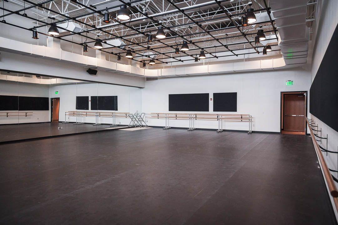 FlyLoft Rehearsal Space 3, Dance studio with Marley Floor.