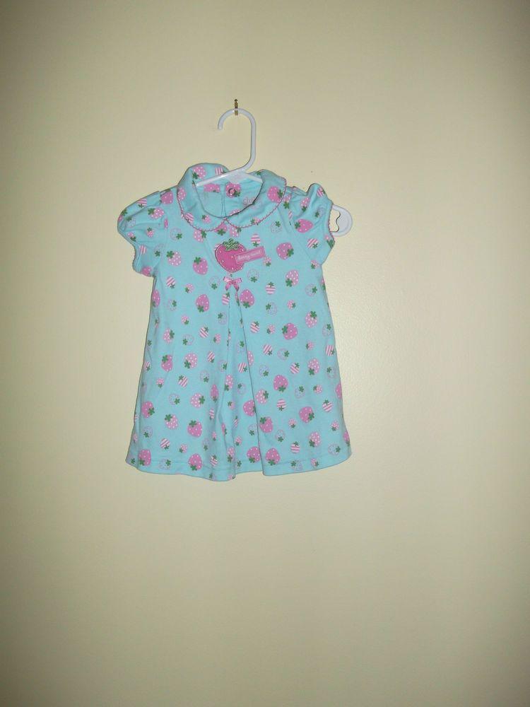 Carters 0 3 Months Light Blue Dress With Strawberry Dec Diaper