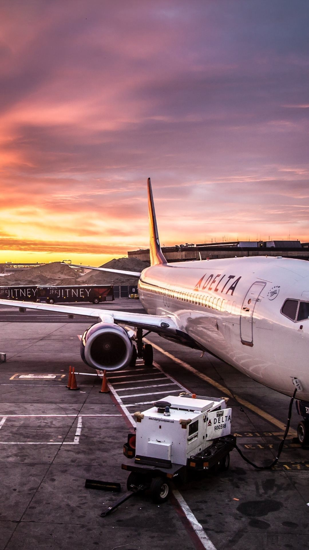delta airline airplane on jfk airport iphone wallpaper