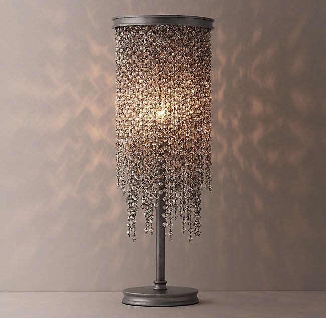 Athena Crystal Table Lamp Aged Pewter Smoke Beads Crystals Diy Chandelier