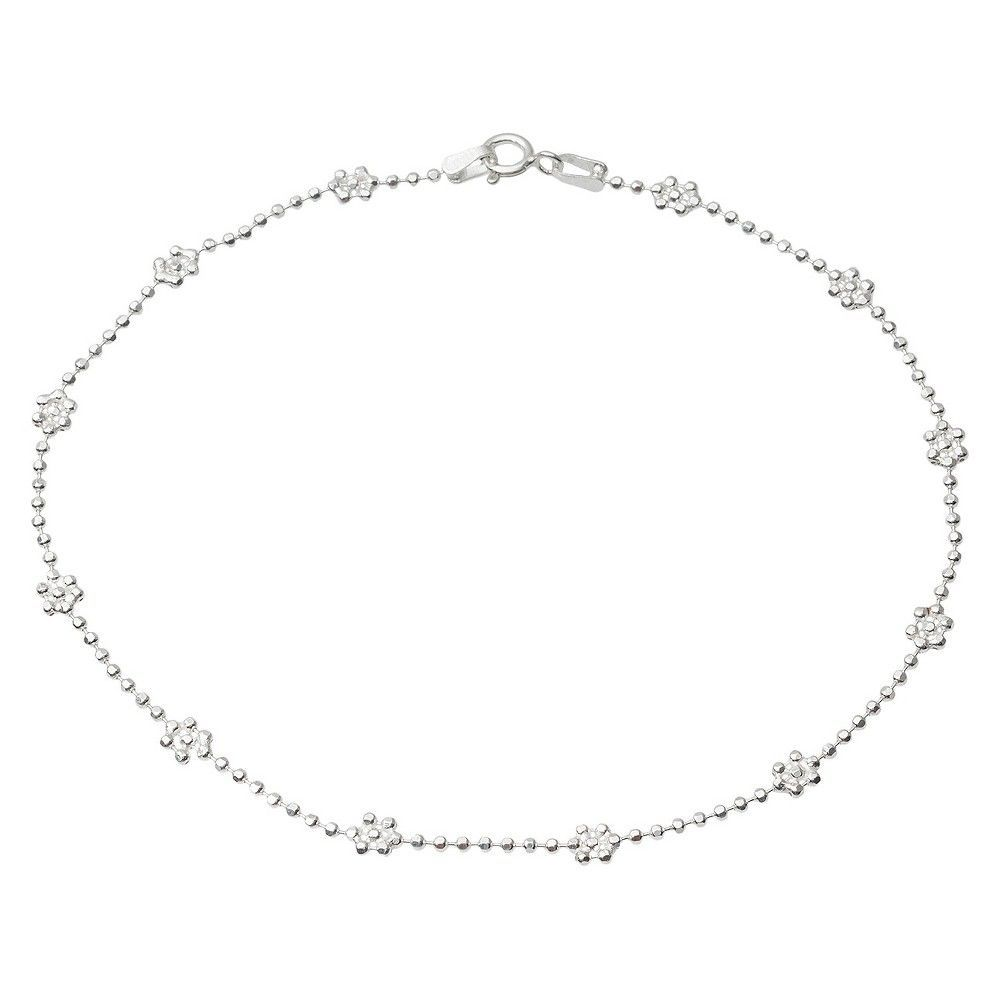 Women's Tressa Collection Sterling Silver Flower Anklet (10)