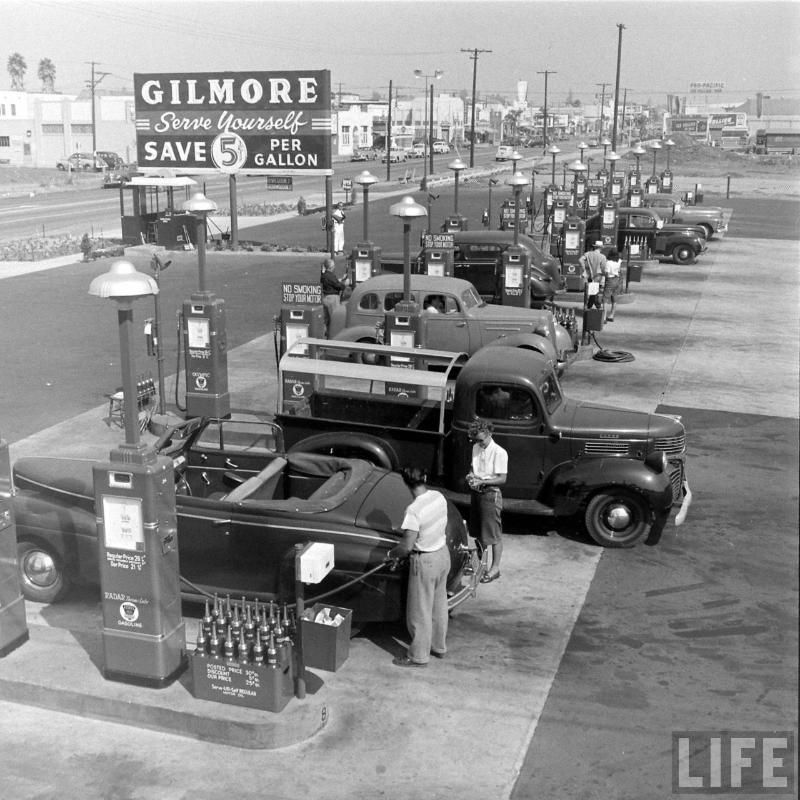 Gilmore Gas Serve Yourself Save 5 Cents Per Gallon Old Gas Stations Gas Station Vintage Gas Pumps