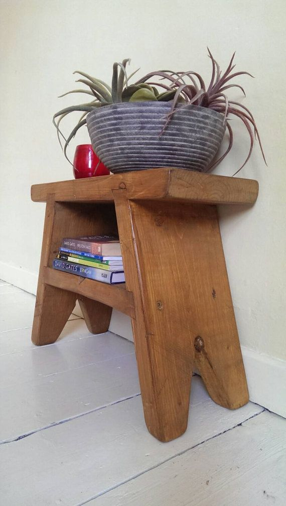 Wooden Step Stool Bedside: Handmade Rustic Foot Stool / Bedside Table / By