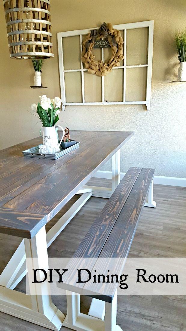 DIY Farmhouse Table Diy dining room table, Farmhouse