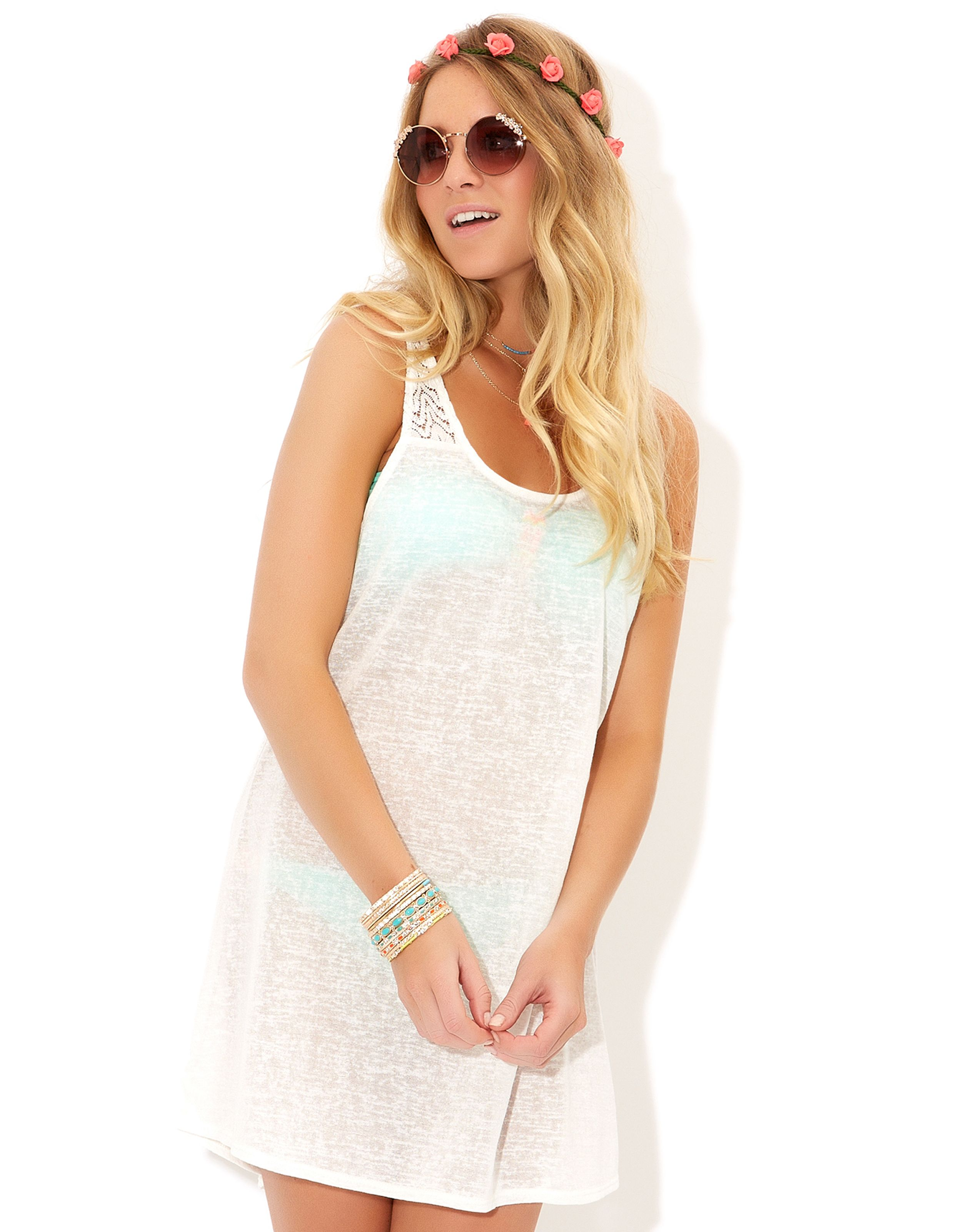8f4ea410cf Lace Insert Vest Dress | White | Accessorize | Summer Holiday ...
