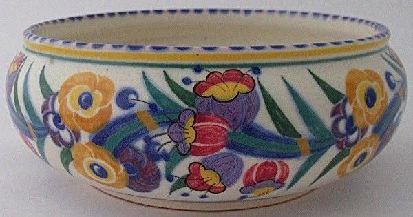 Fabulous Early Poole Pottery EE Fuchsia Bowl - Art Deco