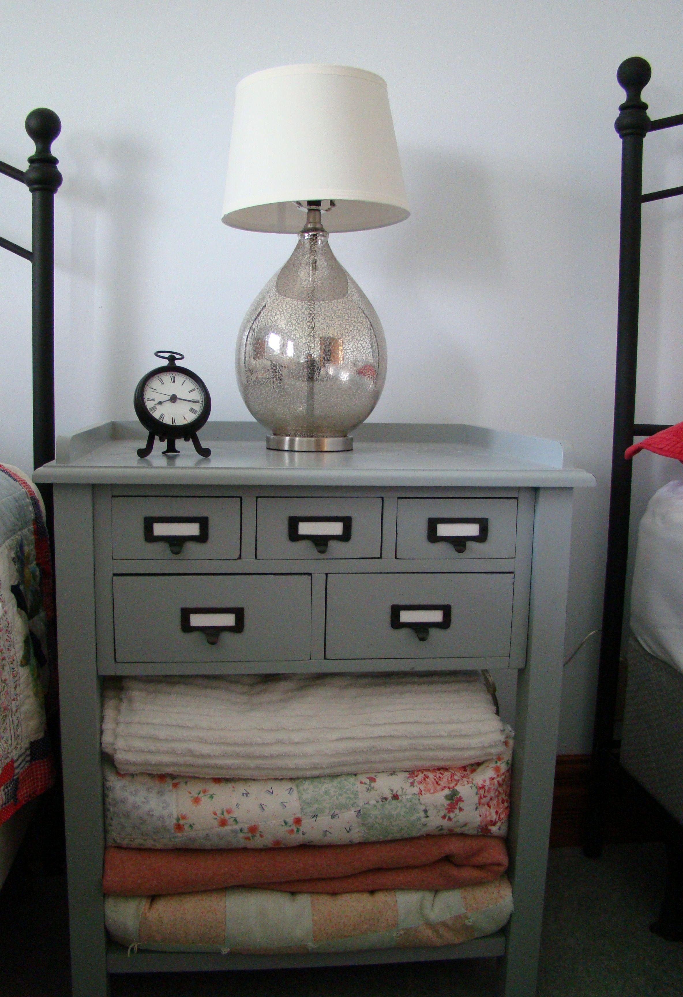 farm house bedroom, night stand, metallic lamp, small