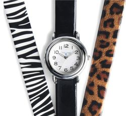 """Nurse Mates Interchangeable Watch Set. This is a 1 3/8"""" case size with easy read dial. Regular and military time. Three interchangeable patent leather straps in Black, Zebra and Cheetah patterns. Water resistant construction."""