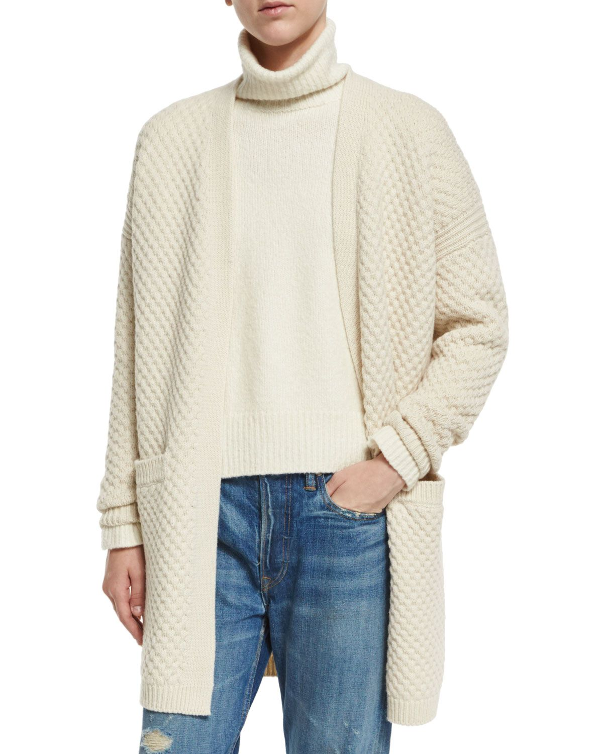 Honeycomb-Knit Long Cardigan, Winter White - Vince | *Neiman ...