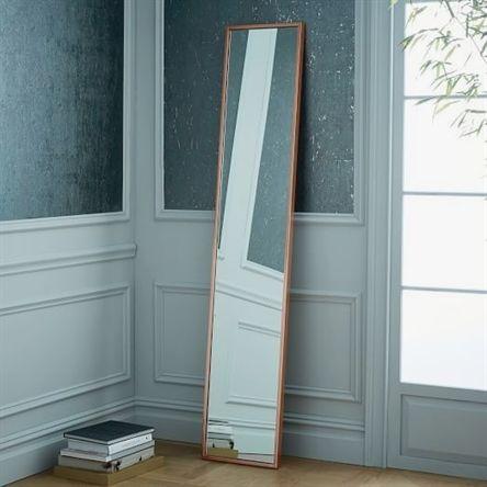 Metal Framed Narrow Floor Mirror Rose Gold