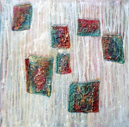 """""""Packets""""  textile collage abstract painting"""