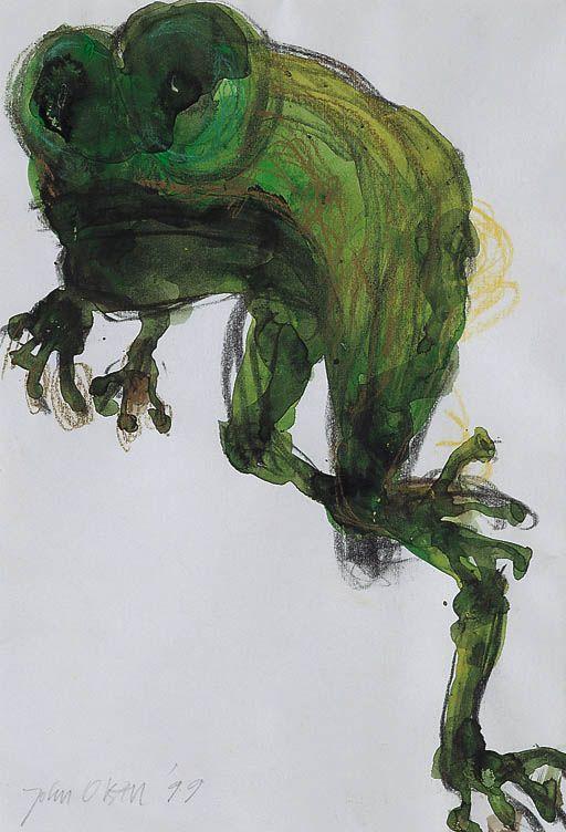 illustration australienne : John Henry Olsen, 1999, aquarelle et pastel, grenouille, vert, animaux, 1990s