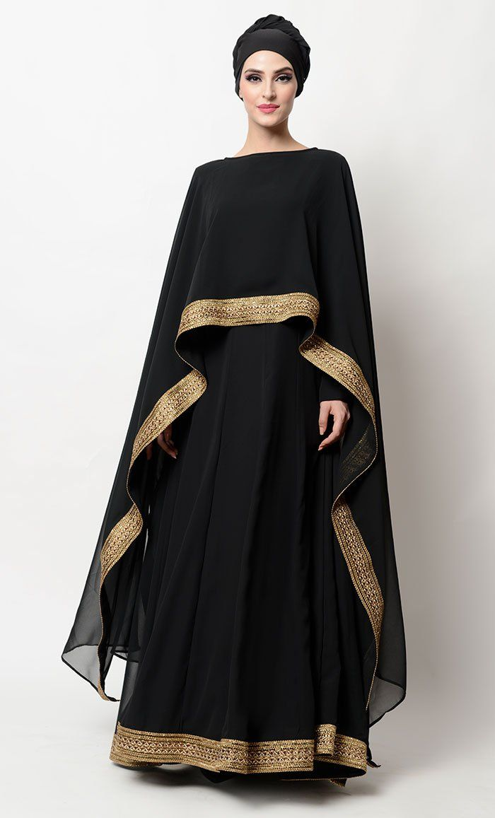 Ihram Kids For Sale Dubai: Gold Embroidered Lace Border Drape Dress Gold Embroidered
