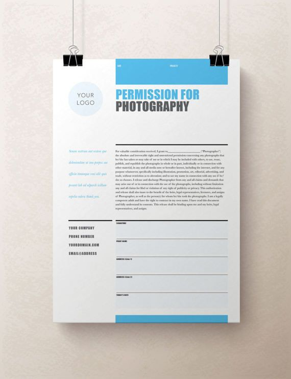 printable photography contract  model release  permission