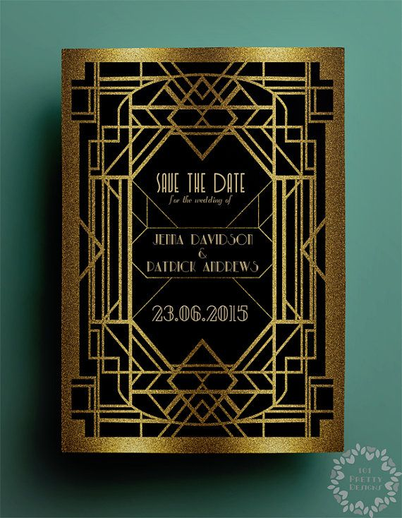 art deco save the date template printable save the date design