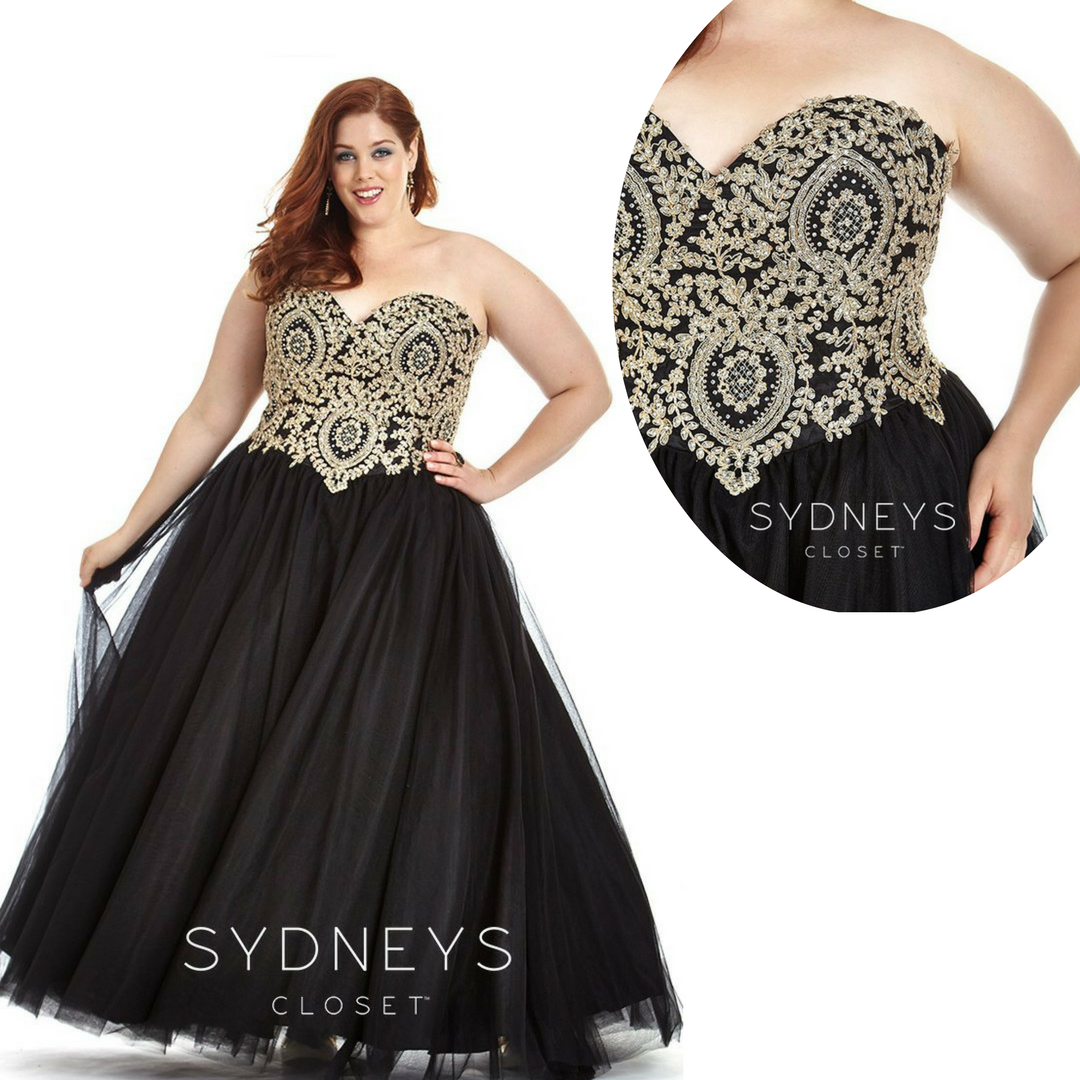 Black And Gold Plus Size Prom And Black Tie Ball Down With Gorgeous Metallic Details Gold Plus Size Dresses Plus Size Gowns Formal Plus Size Prom [ 1080 x 1080 Pixel ]