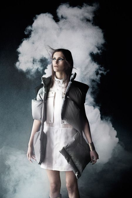 Smoke organza dress with down vest AW 13 Photo: Julia Hetta Styling: Naomi Itkes Model: Fia L, Stockholmsgruppen