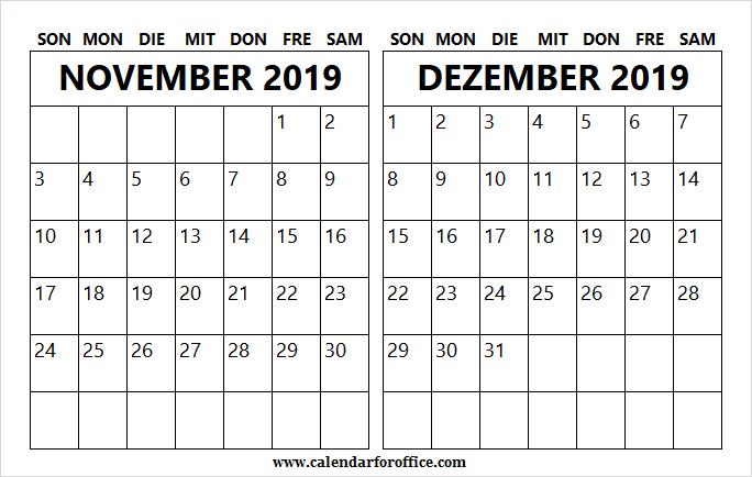 Monat November Dezember Kalender 2019 Excel | Januar 2020 #monatnovember