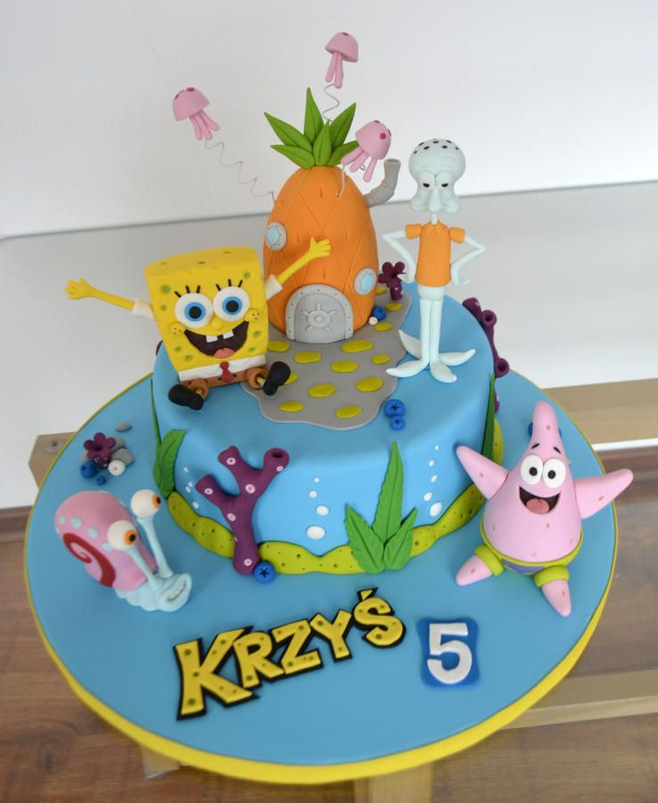 Spongebob Cake Cake By Agnieszka Cakes Pinterest Spongebob - Happy birthday bob cake