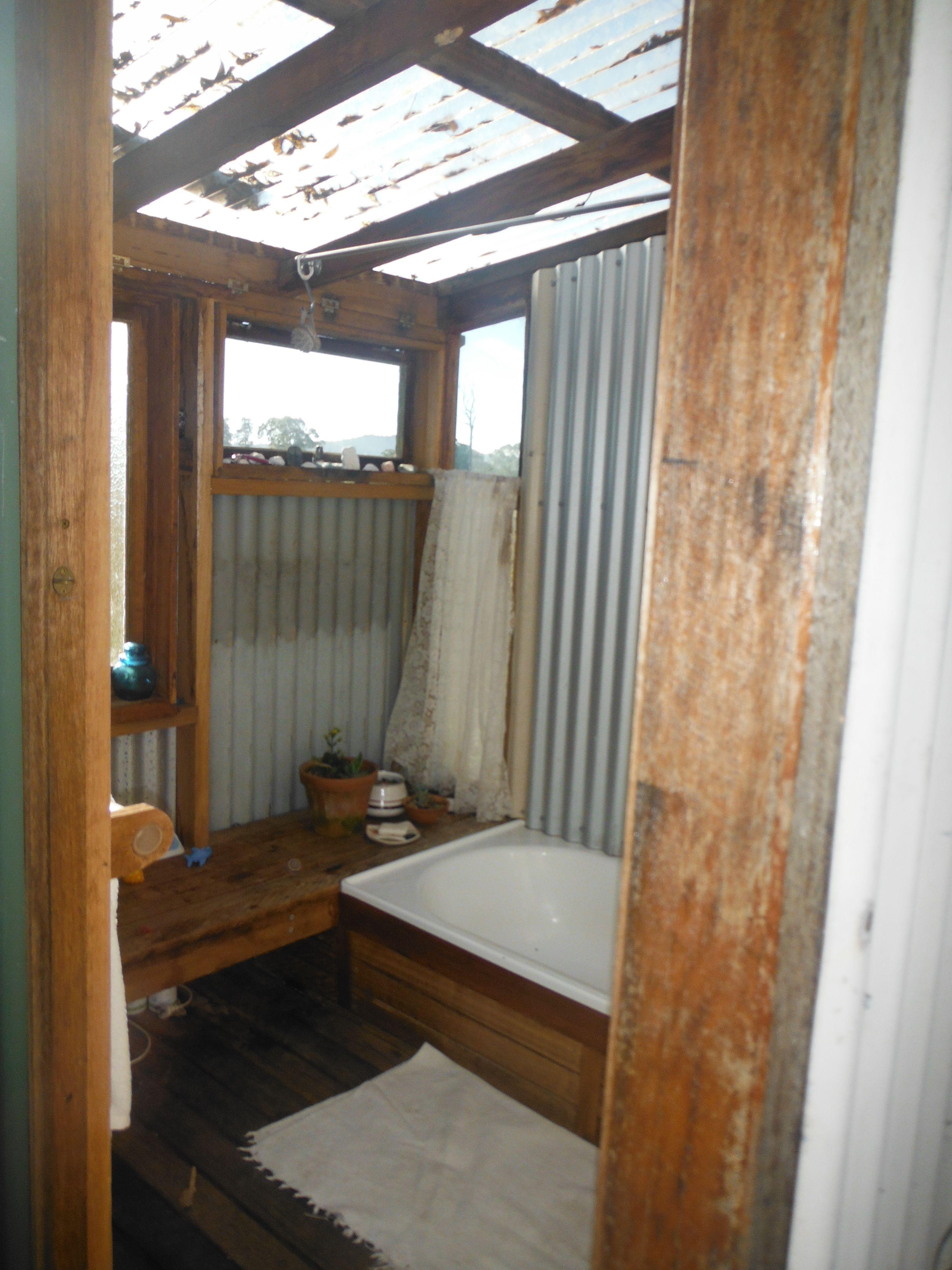Outside Bathroom Timber Decking Suntuf Roof Corrugated Iron Rustic Bathrooms Outdoor Bathrooms Rustic Bathroom Shelves
