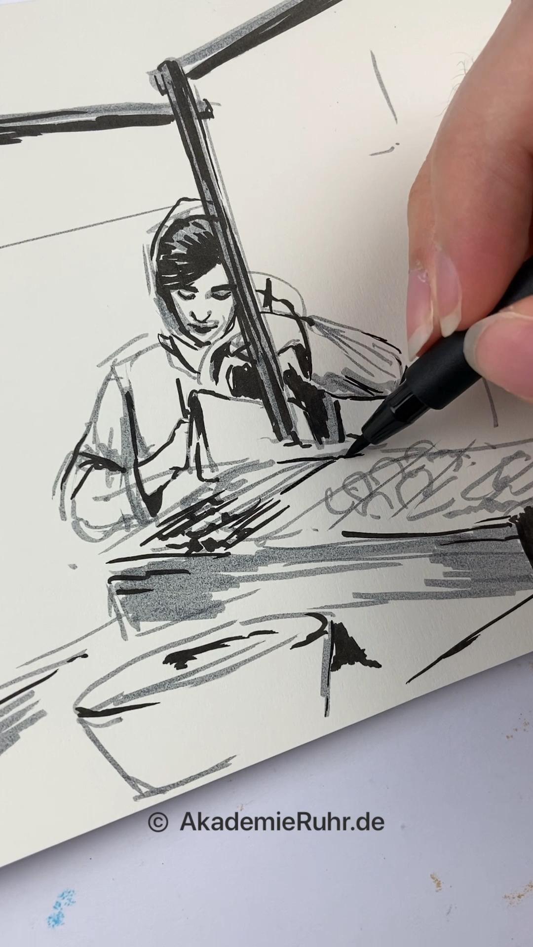 Urban Sketching Kurse. Zeichnen lernen mit Akademie Ruhr [Video]   Fashion  design sketchbook, Urban sketching, Architectural sketch