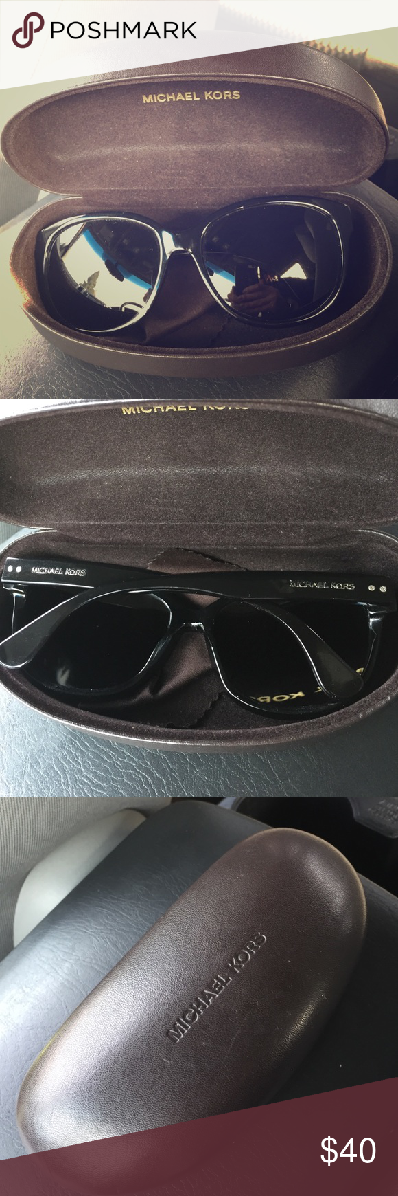 Michael Kors Sunglasses Preloved with just a slight scratch and scruff on the right side of sunglasses. Case has a few scuffs outside. Michael Kors Accessories Sunglasses