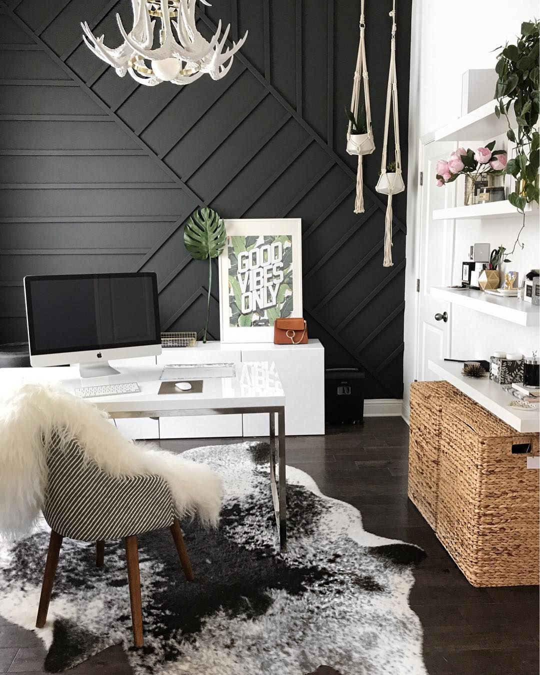 Office Inspo Wood Wall Wall Design Accent Wall Woodwork Black Office Black Wall Modern Office Antler Chand Interior Inspiration Bedroom Home Home Decor