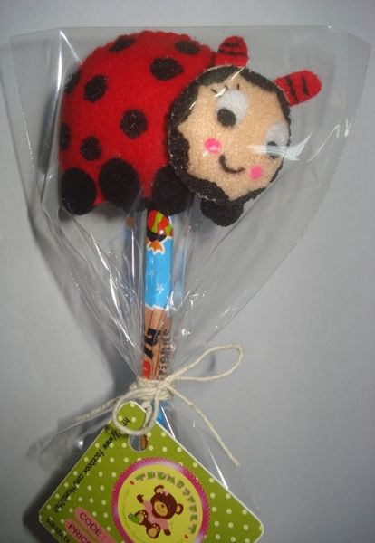 This listing is for a Felt Pencil Topper that has been Hand made by me!  This cute ladybug will be great company for school work or just taking d...