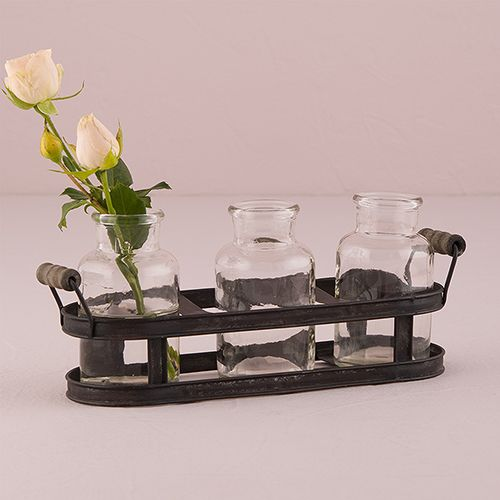 Small Glass Bottle Set in Aged Metal Holder - The Knot Shop