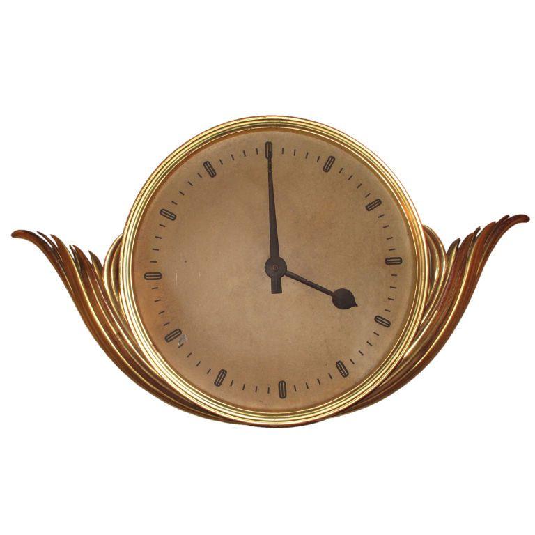 French Art Deco Gilt Wood Clock, circa 1930