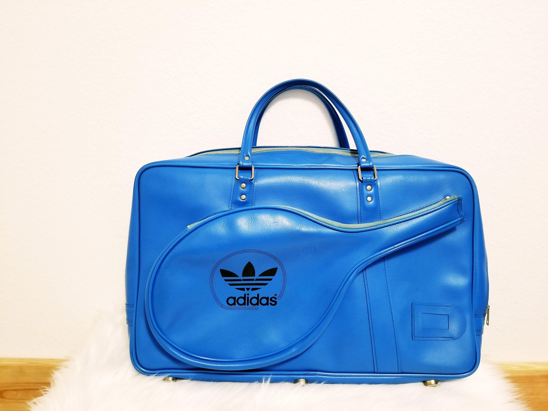 8a05b4a62ec2 RARE Vintage 1970s Adidas Originals Electric Blue Vinyl Tennis Duffel Bag