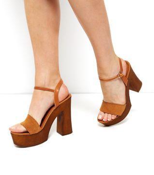 Sandales à talons évasés en cuir Premium fauve