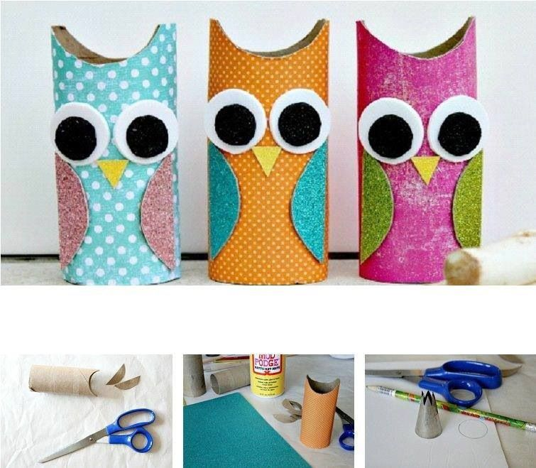 wonderful diy cute paper roll owls rouleaux aide et emballage. Black Bedroom Furniture Sets. Home Design Ideas
