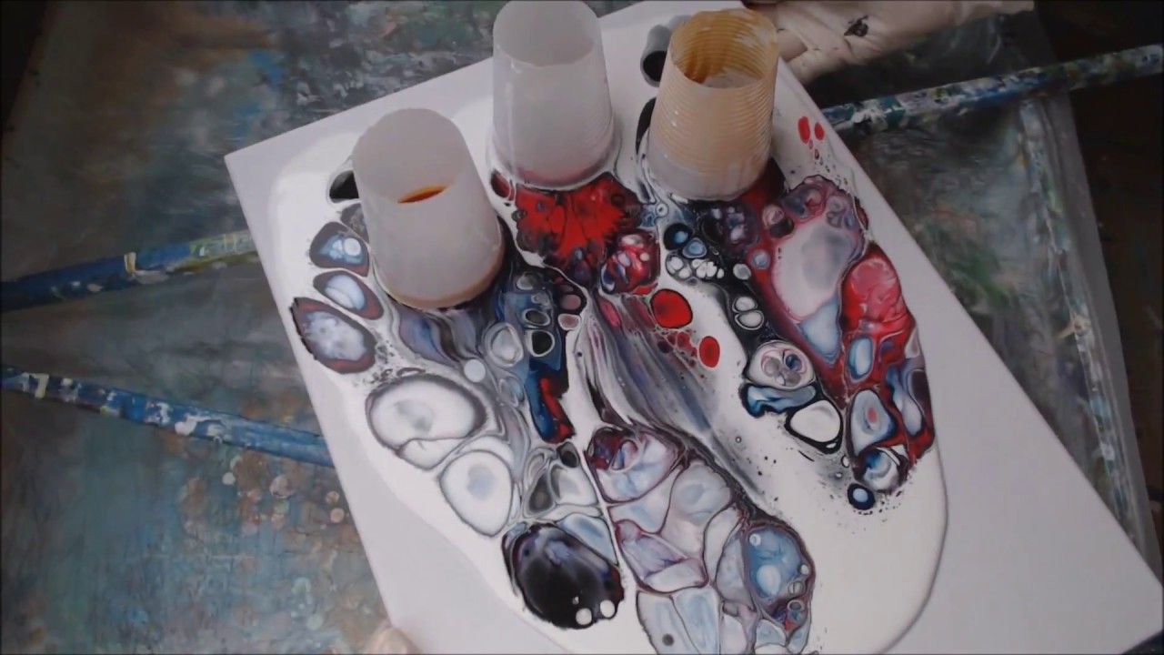 Pouring Painting With Open Cups Big Cells Floetrol Wasser