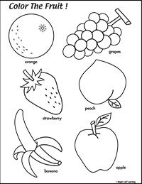 Color the Fruit Worksheet | Fruit coloring pages ...