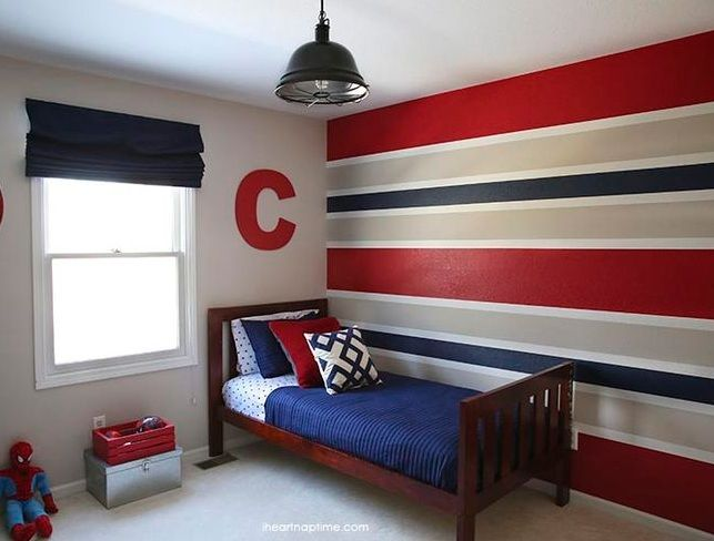 Red Blue And Grey Horizontal Stripes Wall Paint For Boys Bedroom