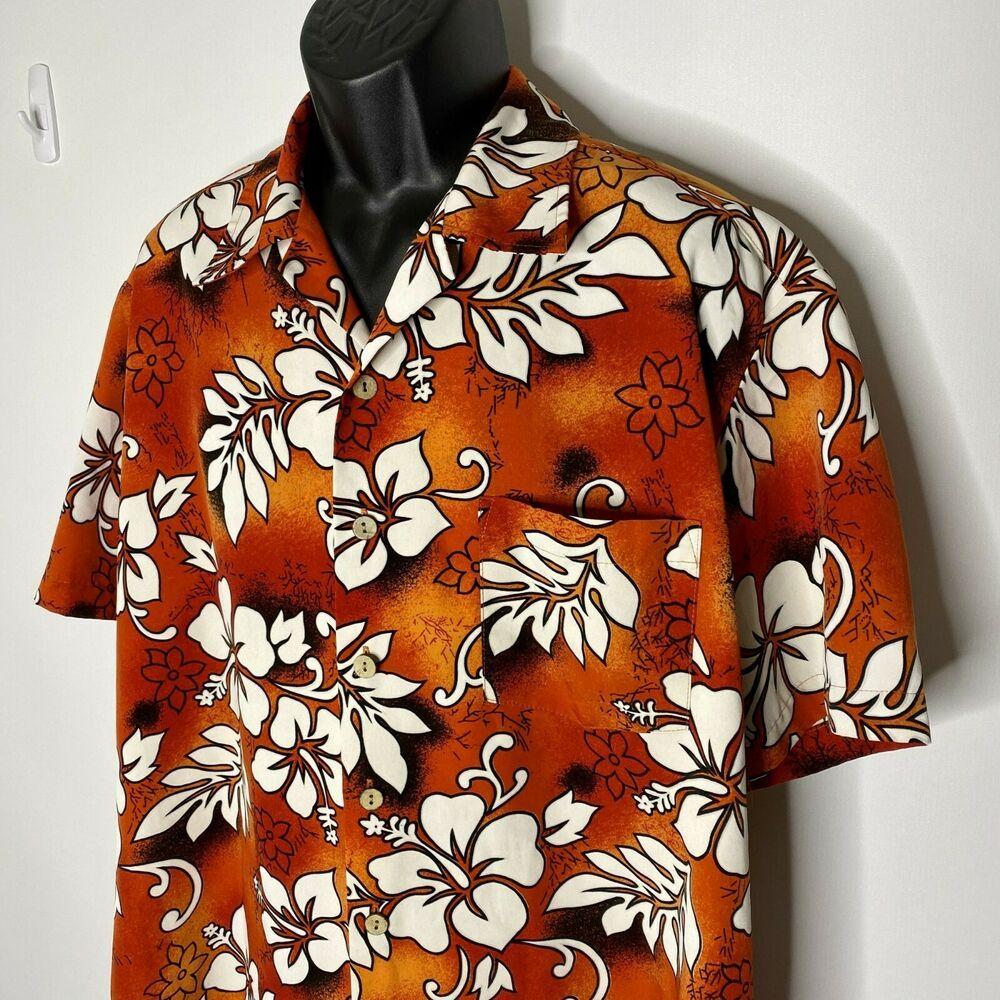 Kennington LTD California Mens Hawaiian Shirt Black Yellow Floral Button Up  XL