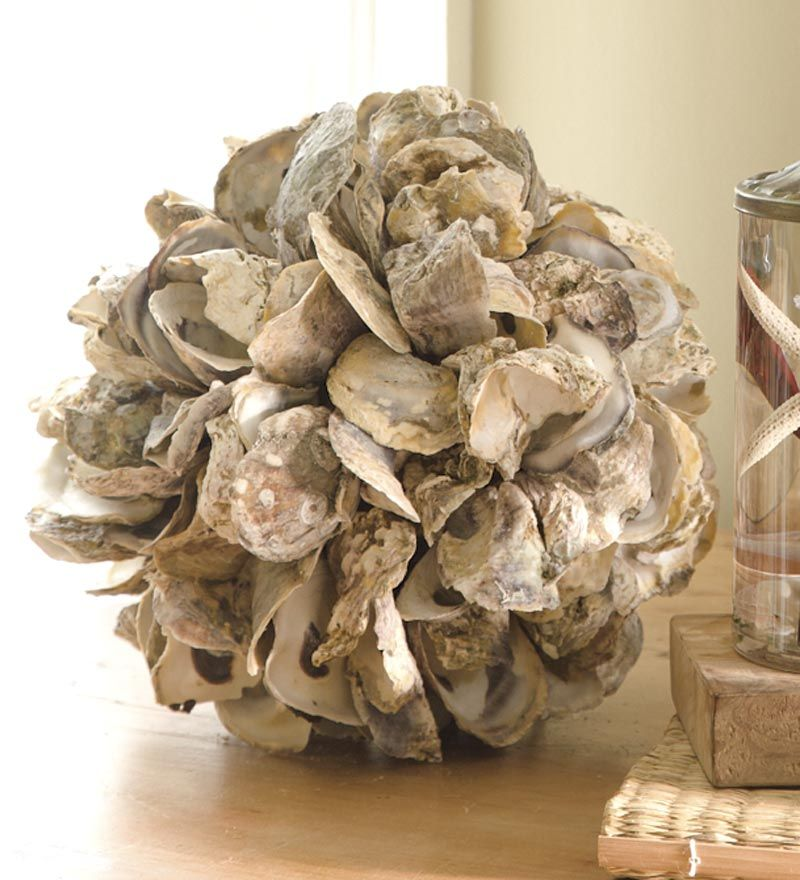 Oyster Shell Ball Accent Oyster Shell Crafts Oyster Shells Decor Seashell Crafts