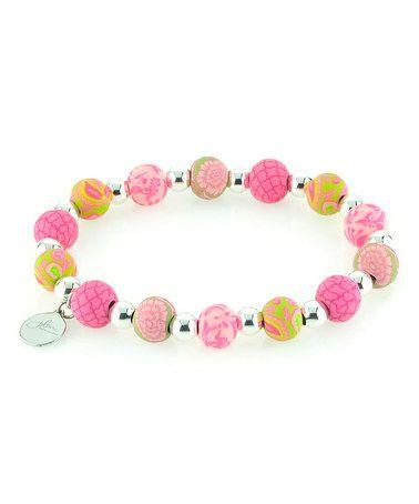 Another great find on #zulily! Paisley Pink & Silvertone Petite Bead Stretch Bracelet #zulilyfinds