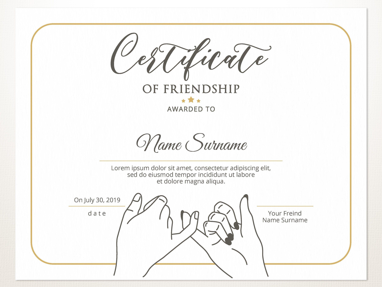 Printable Friendship Certificate Template Editable Friendship Elegant Certificate Friendship Day Gift For Friend G Kartu Nama Desain Pamflet Huruf Tulis Tangan