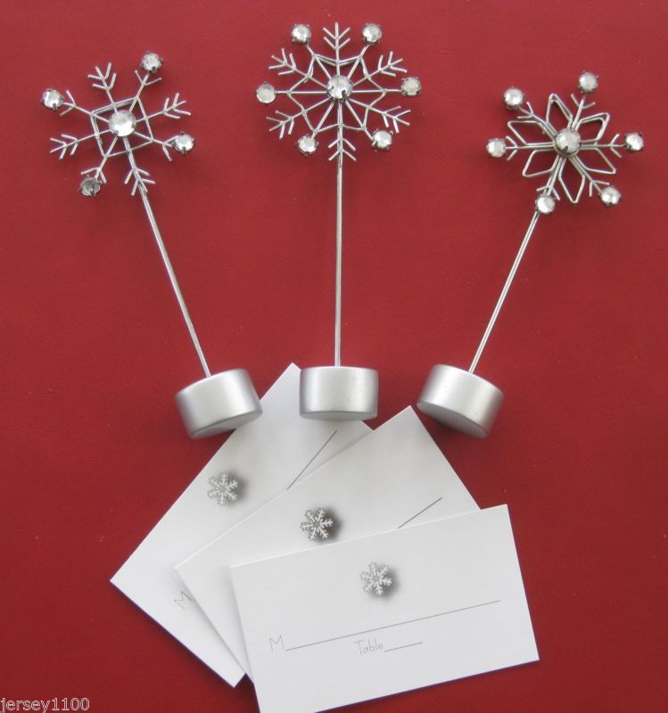Place card holders for a winter wedding