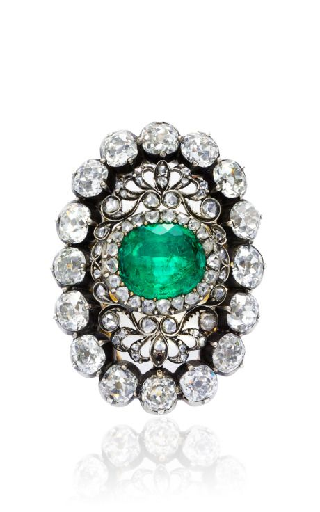 Shop Antique Emerald And Diamond Ring by Simon Teakle for Preorder on Moda Operandi