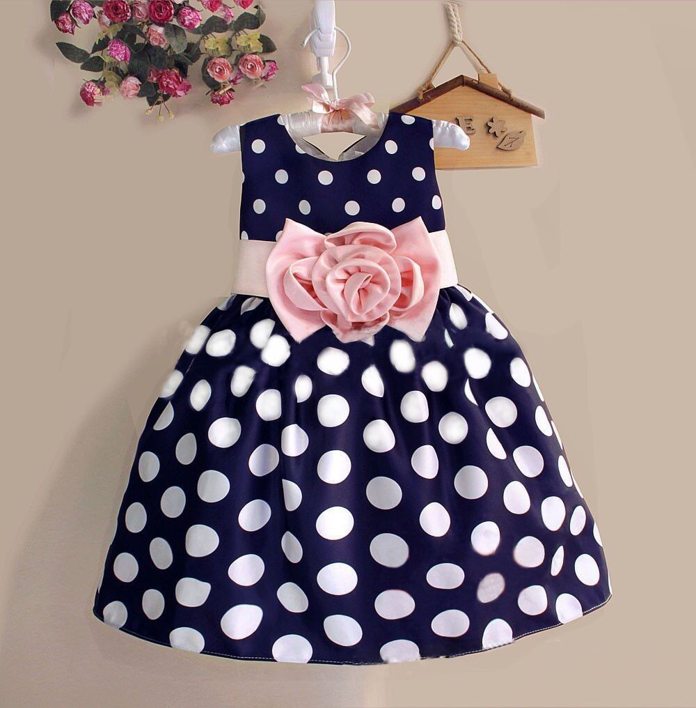 Buy cute dotted girls dresses navy blue white years old at