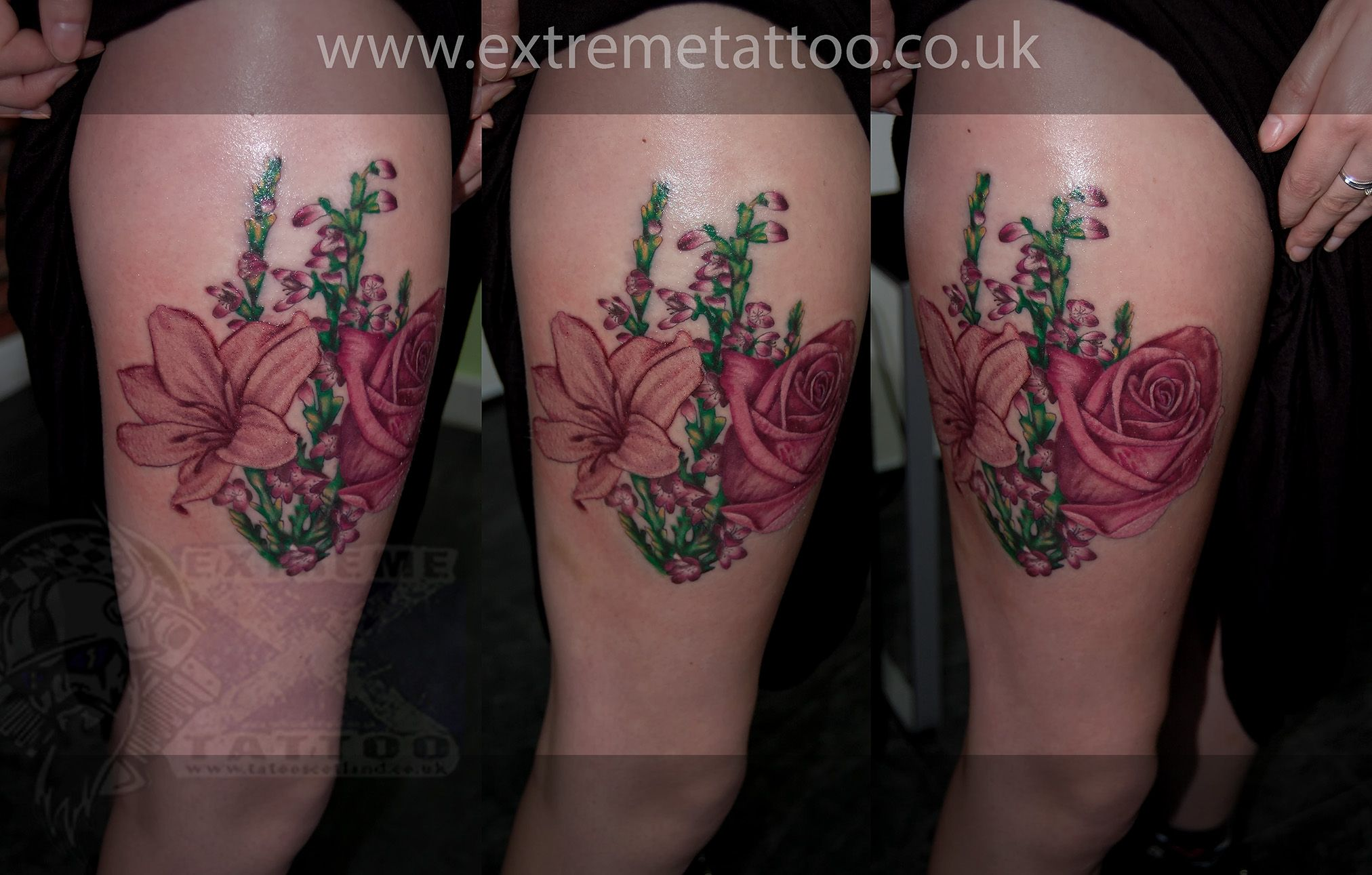 Rose Lilly Scottish Heather Flower Tattoo Gabi Tomescu Tattoos Realism Tattoo Scottish Tattoos