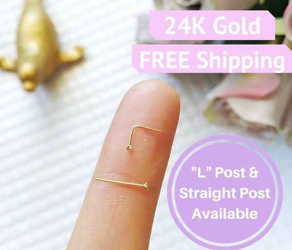 24K Teeny Tiny 1mm Nose Stud Gold Diamond small nose ring diamond nose stud gold nose ring nose studs 1mm diamond nose studs tiny nose ring #doublenosepiercing